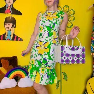 Mod 60s flower power pop art mini dress XS/S